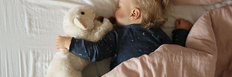 Enfant qui dort avec une peluche