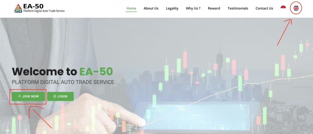 Page d'accueil du robot de trading EA-50