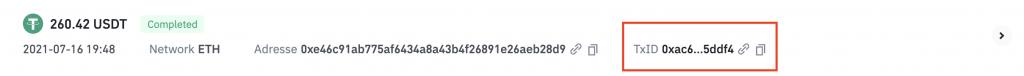 Trouver le TxID lors d'un paiement en cryptomonnaie